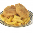Fish Cake and Chips — Stock Photo