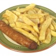 Jumbo Sausage and Chips — Stock Photo #13131697