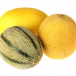 Three Ripe Juicy Melons — Stock Photo