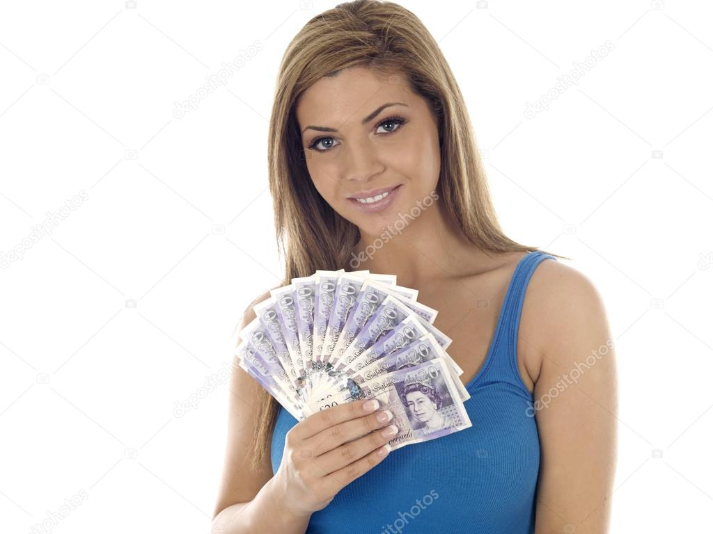 Young Woman Holding Money — Stock Photo © richardmlee ...