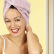 Happy Young Woman After Showering — Stock Photo
