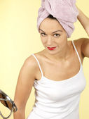 Young Woman After Showering Getting Ready — Stock Photo