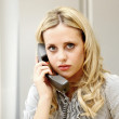 Young Business Woman Using Telephone — Stock Photo