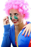 Silly Teenage Girl Wearing Fancy Dress Purple Wig — Stock Photo