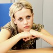 Bored Depressed Young Business Woman — Stock Photo