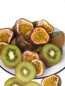 Kiwi and Passion Fruits — Stock Photo