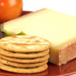 Kaltbach Cave Aged Gruyere Cheese and Biscuits — Stock Photo