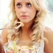 Teenage Girl Eating Prawn Salad — Stock Photo #13431833