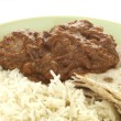 Beef Madras with Basmati Rice - Stock Photo
