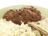 Beef Madras with Basmati Rice — Stock Photo