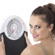 Attractive Young Woman Holding Weighing Scales — Stock Photo