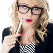 Thoughtful Young Business Woman Wearing Glasses — Stock Photo