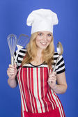 Attractive Young Woman in Chefs Hat — Stock Photo