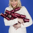 Stock Photo: Attractive Young WomCarrying Christmas Presents