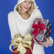Attractive Young Woman Carrying Christmas Presents — Stock Photo