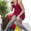 Young Woman Drinking Red Wine — Stock Photo