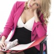 Young Business Woman Reading File Papers — Stock Photo #36471671