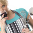 Young Woman Holding Kitchen Utensils Drinking Red Wine — Stock Photo
