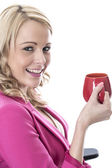 Business Woman Drinking a Mug of Tea — Stock Photo