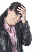 Shy Embarrassed Young Woman — Stock Photo