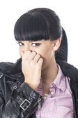 Attractive Young Woman Pinching her Nose — Foto de Stock