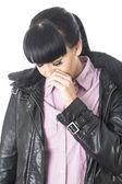 Triste depressa giovane donna — Foto Stock