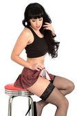 Young PIn Up Model Tartan Mini Skirt — Stock Photo