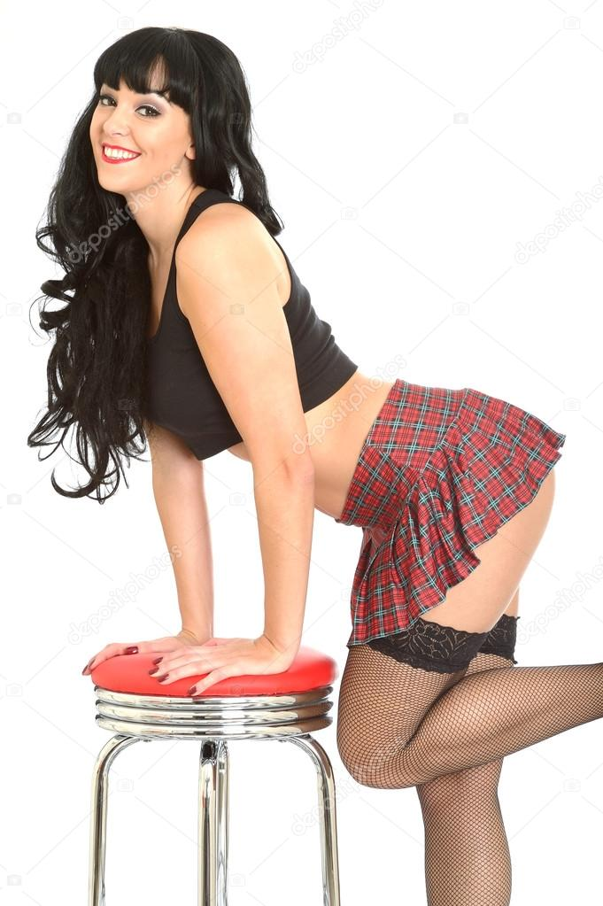 woman naked bent over in tartan skirts