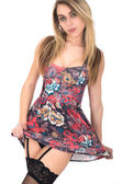 Sexy Topless Young Woman Wearing Skater Style Dress — Stock Photo
