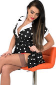 Attractive Young Pin Up Model Sexy Polka Dot Dress — Stock Photo