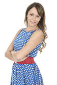 Relaxed Young Woman Wearing Blue Polka Dot Dress — Stock Photo