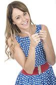Young Woman Wearing Blue Polka Dot Dress Thumbs Up — Stock Photo