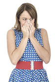 Shocked Young Woman Wearing Blue Polka Dot Dress — Stock Photo