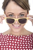 Attractive Young Woman Wearing Sun Glasses — Stock Photo