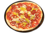 Pepperoni and Hot Pepper Pizza — Stock Photo