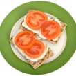 Tomato and Soft Cheese Crackers — Stock Photo #49871975