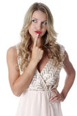 Confused Young Woman Wearing Sheer Flimsy Dress — Stock Photo