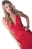 Sexy Young Woman Wearing a Red Dress — Stock Photo
