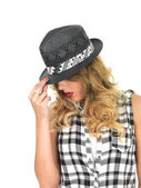 Sulky Sultry Young Woman Wearing Black Tilbury Hat — Stok fotoğraf