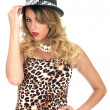Young Woman Wearing Leopard Print Top and Hat — Stock Photo #49942683