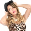 Young Woman Wearing Leopard Print Top and Hat — Stock Photo #49942955