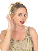 Young Woman Eavesdropping — Stock Photo