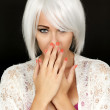 Shy Coy Demure Young Woman — Stock Photo #50709629