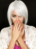 Shy Coy Demure Young Woman — Stock Photo