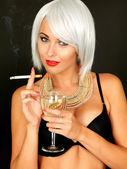 Beautiful Young Woman Smoking — Stock Photo