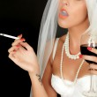 Young Woman Bride Drinking and Smoking — Stock Photo #50955725