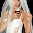 Young Woman Bride Drinking and Smoking — Stock Photo #50956155