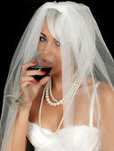Young Woman Bride Drinking and Smoking — Stock Photo