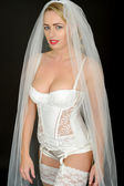 Sexy Young Wedding Bride in White Lingerie — Stock Photo