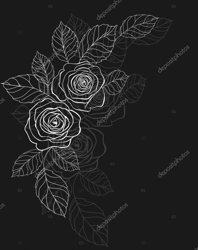 Abstract black background with roses — Stock Vector #12597564